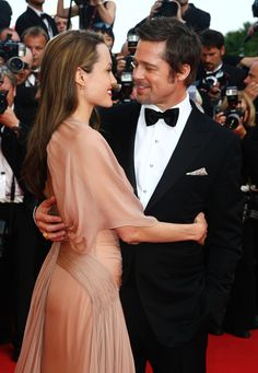 Brad Pitt and Angelina Jolie At the Inglourious Basterds premiere at Cannes Film Festival.   - ELLE.com