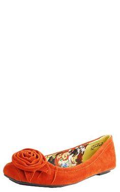 Amazon.com: Florian02 Rosette Suede Flats ORANGE: Shoes
