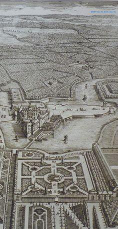 André Le Nôtre (1613-1700) |Plan de la maison de Grennwich avec son jardin.-Le Notre réalise de nombreux projets en France et à l'étranger: Greenwich pour Charles II d'Angleterre en 1662. En 16662-1684, Le Nôtre transforme pour le Grand Condé les jardins du chateau de Chantilly et dessine les jardins du château de St-Germain-en-Laye entre 1663 et 1672 (son projet en perspective déviée l'emportant sur celui de Le Vau).