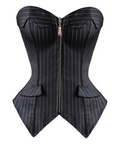 Black Pinstripe Strapless Corset - Plus Too Nice! Strange sizing. $34.99