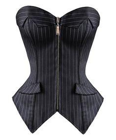 Black Pinstripe Strapless Corset - Plus Too Nice! Strange sizing. $34.99