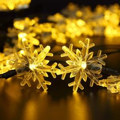 Solar String Lights, BIRUGEAR Decorative Snowflake Solar Powered String Lights 20 LED For Outdoor, Gardens, Lawn, Patio, Wedding, Christmas, Parties - Warm White / 15 Feet => You can get more details here : Garden Christmas Decorations