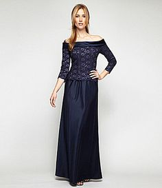 Alex Evenings Off-The-Shoulder Lace and Satin Gown