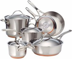 Stainless Steel with Copper 10-Piece Cookware Set Kitchen Accessory New #cookware