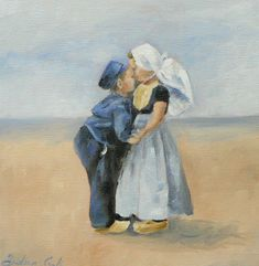 giclee art print of a boy and a girl giving each other a kiss on the cheek Round Robin, Fair Isle Knitting, Summer Art, Delft, Art Market, Dom, Windmill, American Artists, Vintage Children