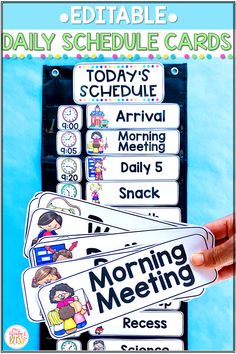 Help students be prepared and organized with these classroom daily schedule cards! Just add the times to these editable schedule picture cards then create a class schedule bulletin board, whiteboard, or pocket chart schedule for your students to easily track the events in your day! #dailyschedulecards #classroommanagementideas  #editabledailyschedulecards #classschedulewithtimes