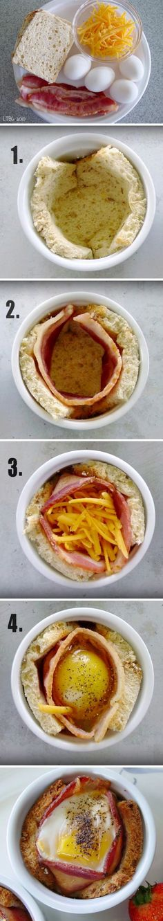Bacon, Egg, and Toast Cups Breakfast Recipes - bacon, breakfast, egg, recipes, toast