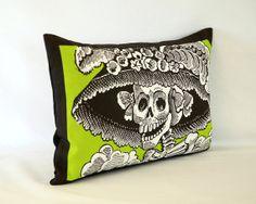 Green Posada Catrina Calavera Pillow Cover by PillowandPocket. Linen/cotton cover with zipper. Dia de los Muertos!