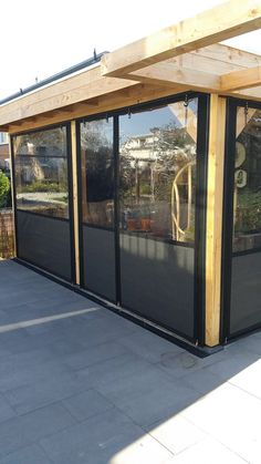 Choose a glass or canopy cover for your canopy seal - verandazeilen. Outdoor Curtains For Patio, Canopy Outdoor, Pergola Patio, Outdoor Decor, Cozy Backyard, Backyard Patio Designs, Backyard Landscaping, Enclosed Gazebo, Pool Shed