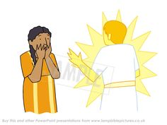 Gabriel and Mary. From the Bible story PowerPoint presentation 'Christmas story / Nativity'.