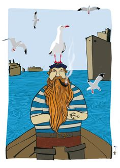 The Sailor And The Seagulls Poster With Stickers
