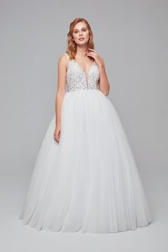 Plunging neckline tulle ball gown with glitter bodice Sizes Available: Colour Available: White Tulle Balls, Tulle Ball Gown, Ball Gowns, Plunging Neckline, Bridal Collection, Formal Dresses, Wedding Dresses, Bodice, Color