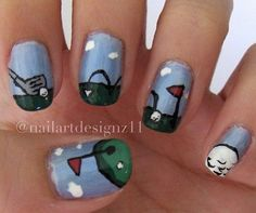 Golf Nails Sports Nail Art, Nails Today, Golf Party, Dots, Stitches