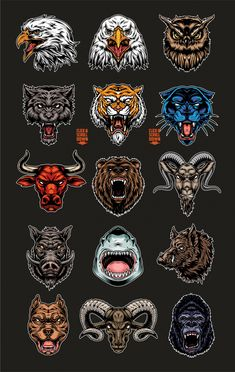 Vintage Cruel Animals Set - Vector design - DgimStudio.com Traditional Tattoo Art, Traditional Tattoo Knee Cap, Neo Traditional, Tatuagem Old Scholl, Bear Tattoos, Mascot Design, Chest Tattoo, Leg Tattoo Men, Animal Heads