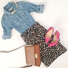 Chambray shirt leopard tie waist skirt pink pumps camel purse work outfit fall outfit click the photo for outfit details Printed Skirt Outfit, Pencil Skirt Outfits, Printed Skirts, Leopard Print Outfits, Leopard Print Skirt, Leopard Prints, Leopard Shoes Outfit, Animal Prints, Loafers Outfit