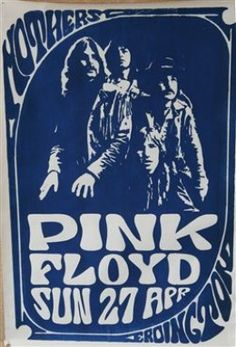 Pink Floyd poster from Mothers Club in Birmingham, England 1969 Vintage Concert Posters, Vintage Posters, Retro Posters, Pop Rock, Rock And Roll, Arte Pink Floyd, Musica Punk, John Peel, Rock Posters