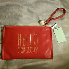 """NWT Hello Gorgeous wristlet Brand new wristlet. Very cute red leather. 10.5""""x7"""" Deux Lux Bags Clutches & Wristlets"""