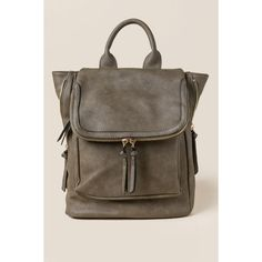 Kendall Classic Backpack - Olive (2.725 RUB) ❤ liked on Polyvore featuring bags, backpacks, olive, brown bag, vegan leather bags, faux leather flap backpack, day pack backpack and day pack rucksack