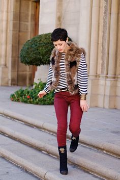 love colored jeans and of course a striped shirt is essential. vest is a good quirk
