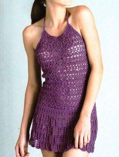 Vestido crochet morado, patrón en español aquí