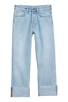 Light denim blue. CONSCIOUS. 5-pocket, loose-fit jeans in thick, washed denim. High waist, button fly, and dropped gusset. Straight legs with raw-edge hems.