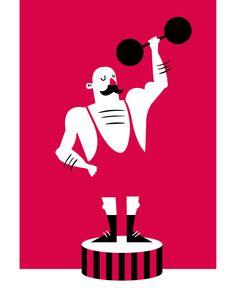 strong man circus Postcard illustration. Vector art.