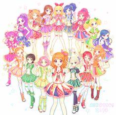Hikari, Mizuki, Otome, Mikuru, Shion, Ran, Sakura, Ichigo, Akari, Aoi, Yurika, Seira, Kaede, Kii, Maria et Sora