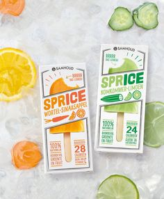Is the Refreshing Ice Treat You Need For Summer Amsterdam-based agency MAS designed the packaging for SPRICE, a new line of natural ice treats that bring a fun and fresh approach to popsicle packaging.Amsterdam-based agency MAS designed the packaging for Ice Cream Packaging, Fruit Packaging, Food Packaging Design, Packaging Design Inspiration, Brand Packaging, Branding Design, Corporate Design, Coffee Packaging, Bottle Packaging