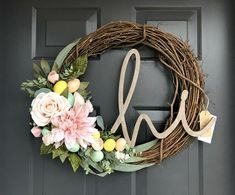 Easter Wreath, Hi Wreath, Pastel Wreath, Pink Floral Wreath, Grapevine Floral Wreath, Spring Wreath, Wreath for Front Door, Floral Wreath Easter Floral Grapevine Wreath, handcrafted using natural grapevine bases with faux flowers, Gold Speckled Easter Eggs, greenery, and wooden hi