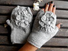Fingerless Gloves, Handmade, Knitted Gloves,Women Gloves,Grey Gloves,Crochet Gloves,Winter Gloves,Christmas Gifts,Gift Ideas   Hand-knitted