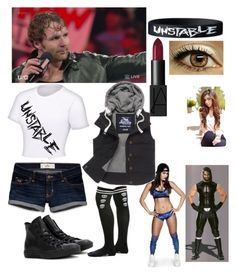 Dean Ambrose and kourtney vs nikki Bella and Seth Rollins by wwemelody on Polyvore featuring Superdry, Converse, WWE and Hollister Co.