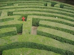 dettagli by mat22snow, via Flickr  A red cross in a green hedge maze.