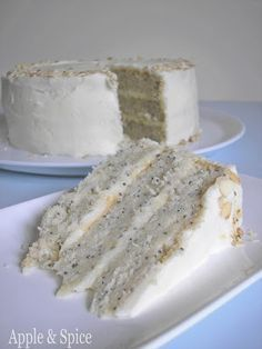 Lemon Poppy Seed Cake with Almond Frosting- Cake: flour, sugar, baking powder, salt, poppy seeds, butter, lemon zest, buttermilk, egg whites, sliced almonds. Syrup: sugar, water, lemon juice. Frosting: creame cheese, powdered sugar, almond extract. #sugardetoxcleanse