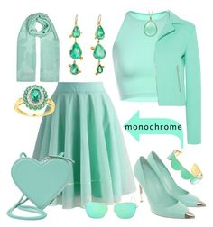 """""""Mint Julep Monochrome"""" by yournightnurse ❤ liked on Polyvore featuring Chicwish, McQ by Alexander McQueen, Gianvito Rossi, Christopher Kane, Judy Geib, Ray-Ban, Kate Spade, Armani Collezioni and monochrome"""
