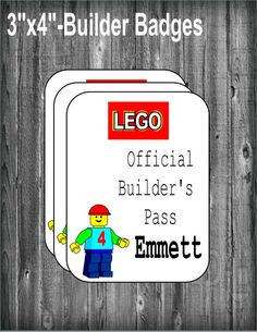 4x3 BUILDER PASSES        **DELIVERY**  This file is for 4x3 printable Lego badges. NO ITEMS WILL BE SHIPPED! A proof will be sent as a high