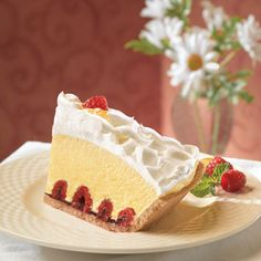 Creamy Lemon Raspberry Pie (Easy; 8 servings) #lemon #raspberry #pie