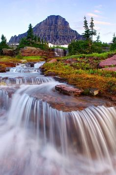 Inspiration For Landscape photography Picture Description Waterfall, Glacier National Park, Montana Beautiful Waterfalls, Beautiful Landscapes, Parc National, National Parks, Places To Travel, Places To See, Travel Destinations, Places Around The World, Around The Worlds