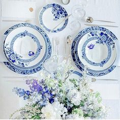 Pretty little things... Shop the Marcel Wanders collection of Blue Ming dinnerware by Vista Alegre. This blue table setting just makes me smile! #alchemyfinehome