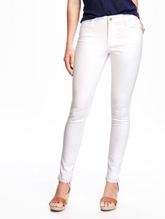 Mid-Rise Stay-White Rockstar Super Skinny Jeans