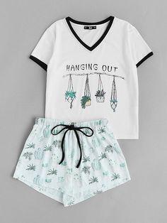 bce3b17019 Graphic Ringer Tee And Drawstring Shorts Pajama Set