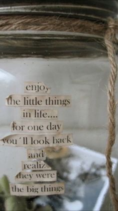 enjoy the little things in life, for one day you'll look back and realise they were big things