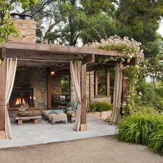 Love this rustic retreat amongst all the green