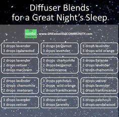 essential oil diffuser blends for a great night's sleep from www.ONEessentialCOMMUNITY.com
