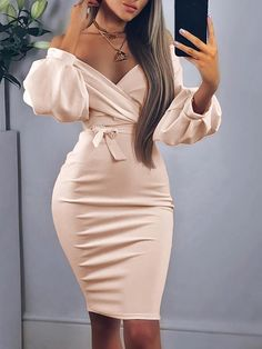 Off Shoulder Twisted Waist Tie Sexy Midi Dress – Sexy midi dresses Tight Dresses, Sexy Dresses, Cute Dresses, Dress Outfits, Evening Dresses, Casual Dresses, Fashion Dresses, Dresses For Work, Summer Dresses