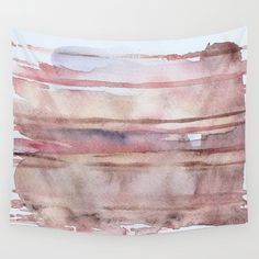 "Wall tapestry with fine art print. Abstract watercolor painting in earth tones, blush pink, beige, indigo, violet, caramel. ""Elusive Strata"" by studioRS on Etsy https://www.etsy.com/listing/245502462/wall-tapestry-with-fine-art-print"