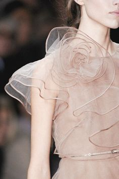 Beautifully delicate ruffled rose dress - feminine fashion details // Valentino