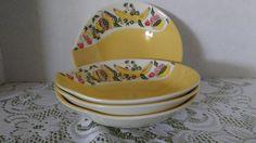 Lot of 4 vintage Figgjo Flint Norway Scandinavian rare fruit bowl design yellow bowls by rummagechicboutique on Etsy