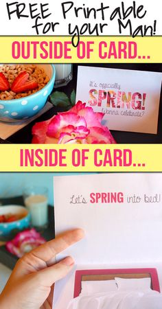 Fun, flirty, and FREE printable card to give to your man this Spring.  PLUS links to 11 other #free Spring printables.  www.TheDatingDivas.com #freeprintable #card #forhim