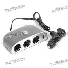 Triple Sockets Car Power Adapter Splitter with Switch & USB Port (12~24V)