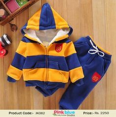 195b1c2e7 Baby Boys Striped Sports Suit with Hooded Jacket Coat & Pants | Thicken  Kids Clothes Sets